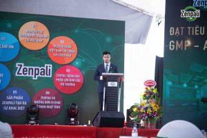 Ông Lê Diên Hạnh - giám đốc công ty Zenpali phát biểu tại lễ khánh thành nhà máy sản xuất mỹ phẩm Zenpali